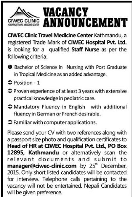 Staff Nurse Wanted in Nepal