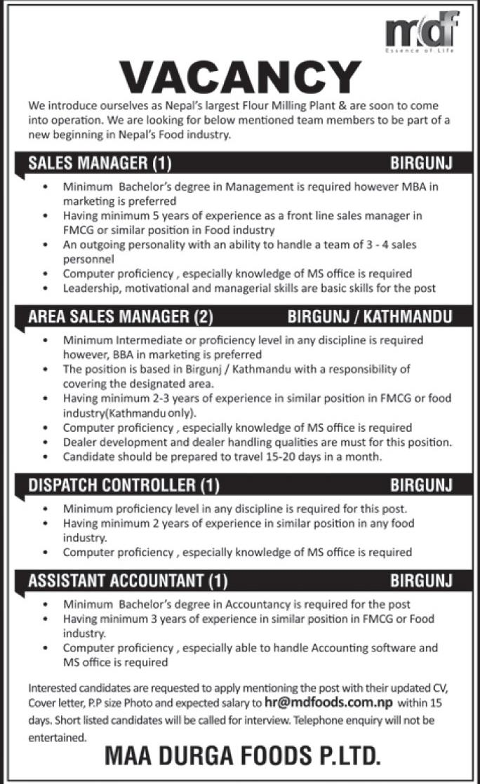 Sales Manager,Area Sales Manager,Dispatch Controller &Assistant