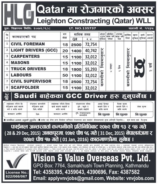 Civil Foreman, Truck Drivers, Civil Supervisor and others in