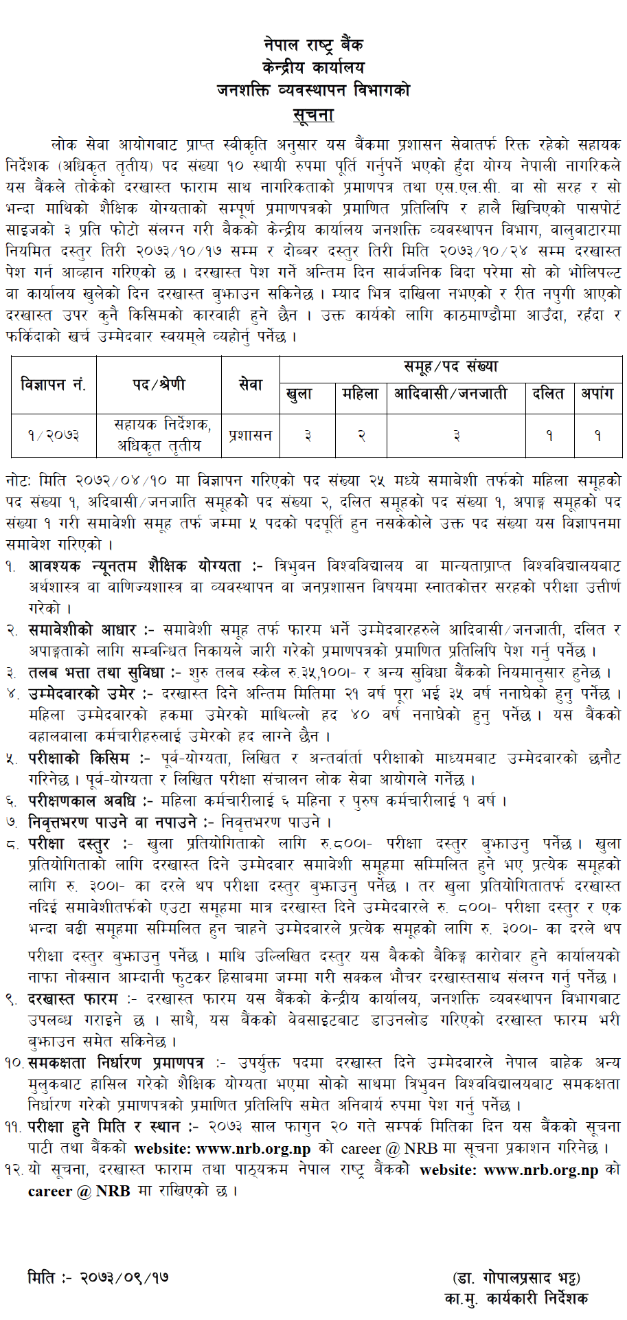 Job Vacancy In Nepal Rastra Bank