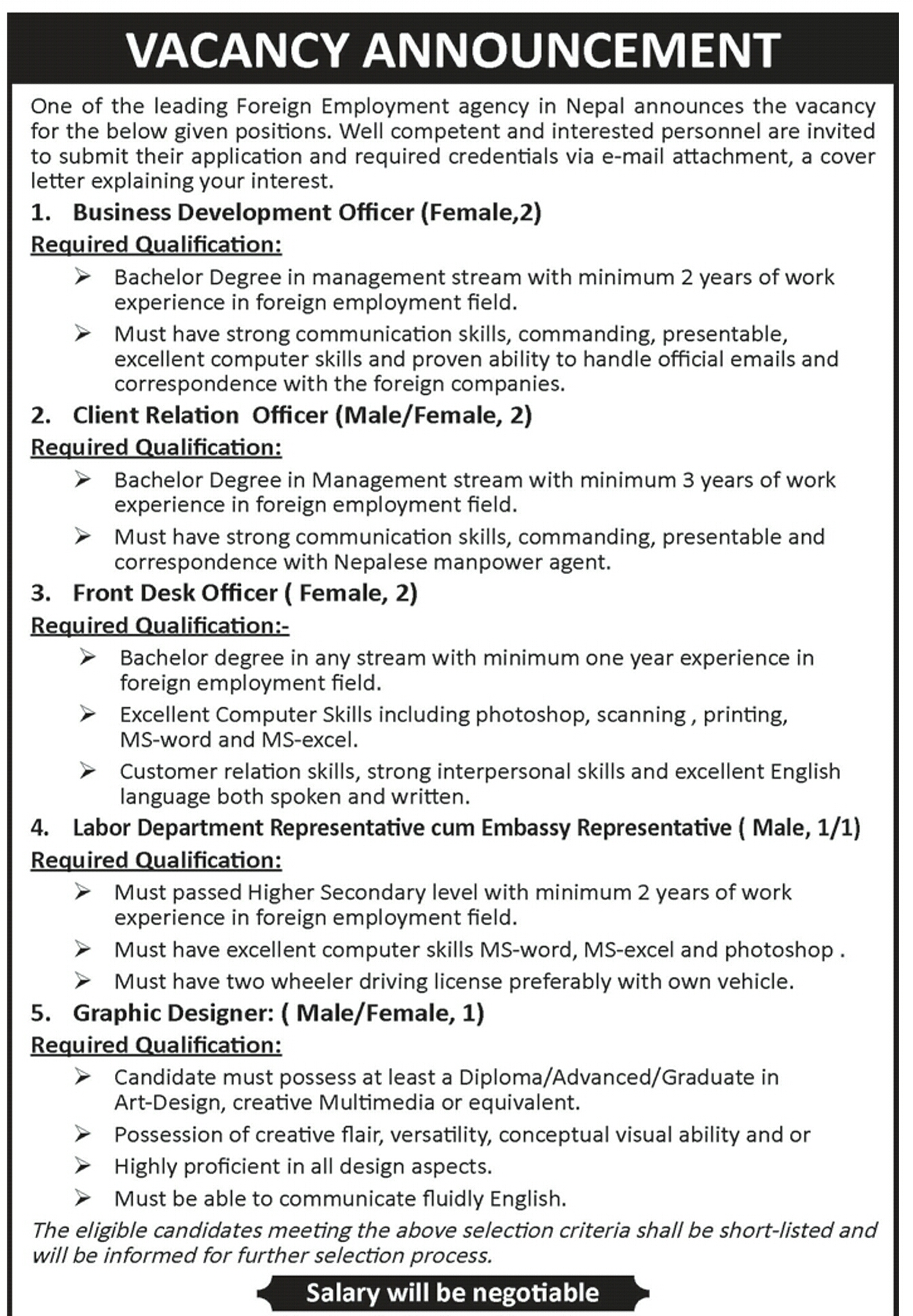 vacancy in various positions business development officer client job in