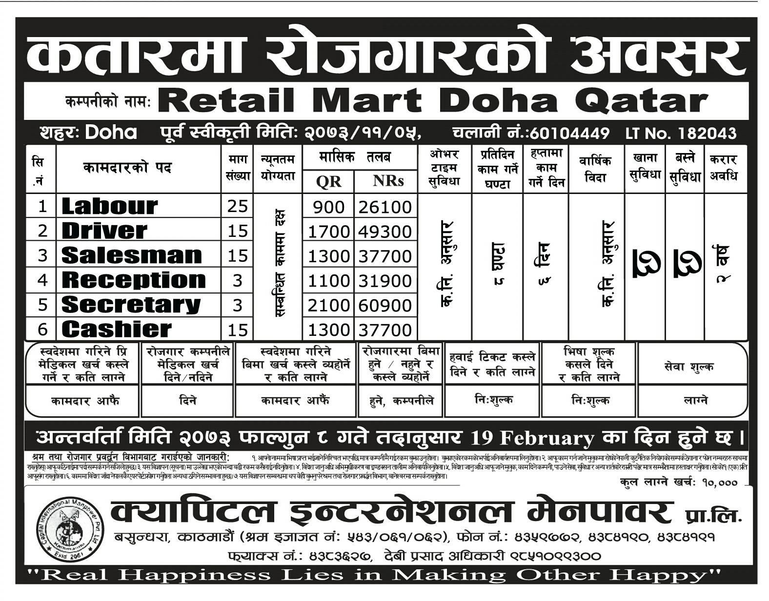 Job In Retail Mart Doha Qatar