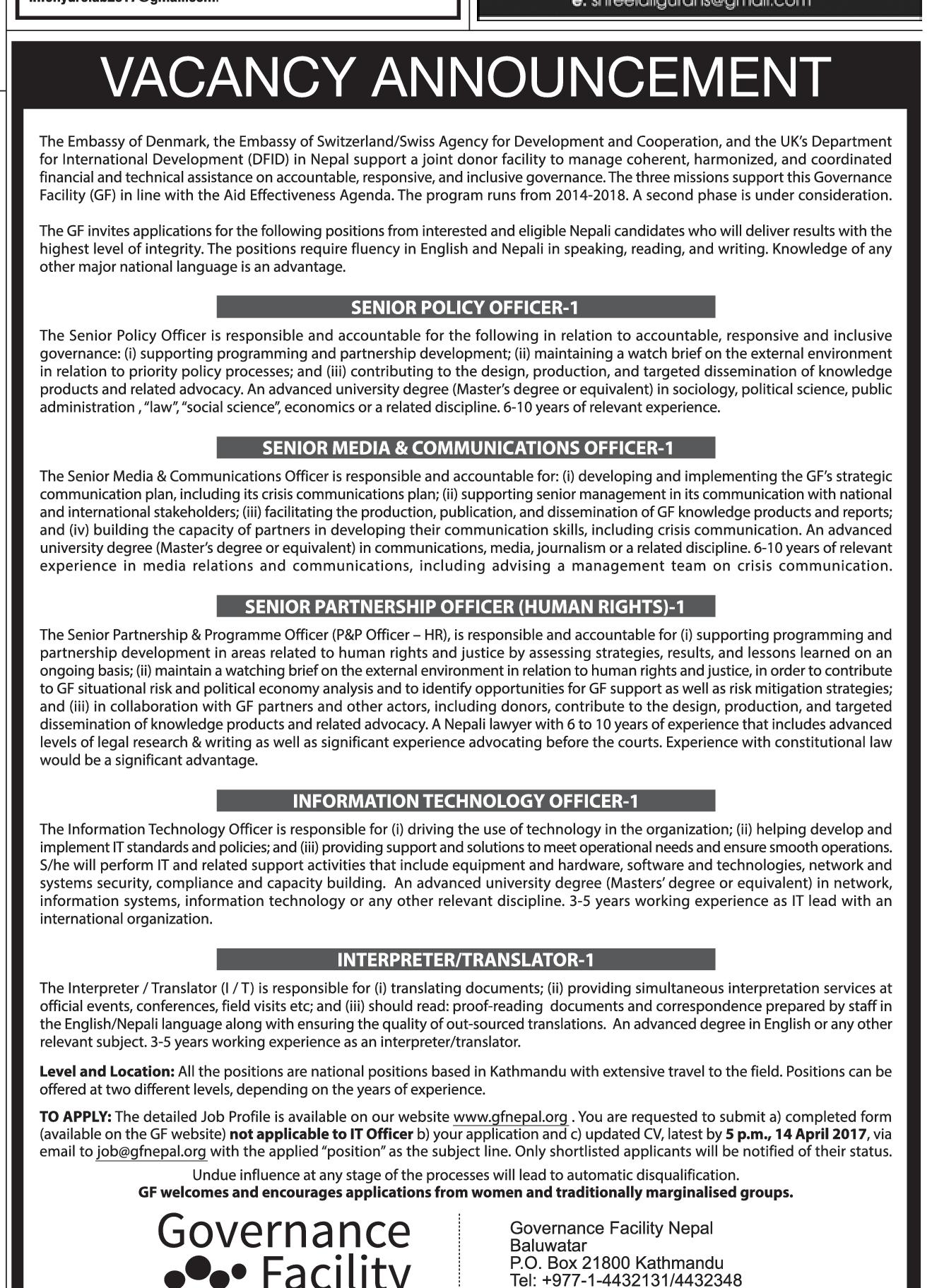 job vacancies in embassy job description