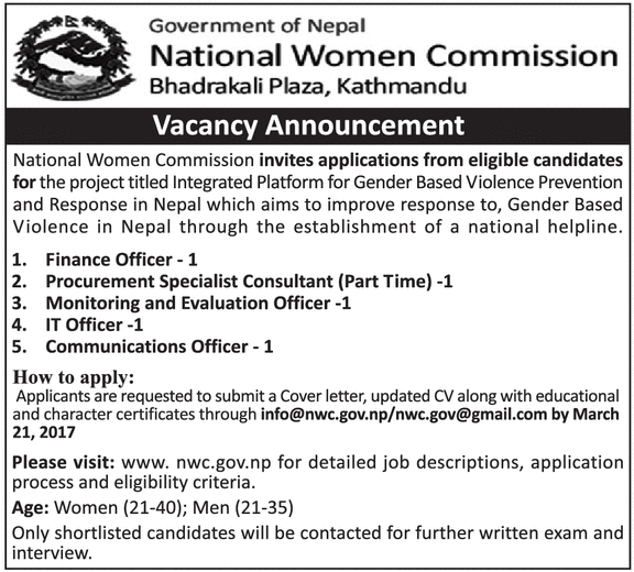Cover Letter For Communications Specialist: Job Vacancy In National Women Commission