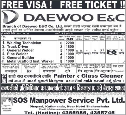 Job Demand From DAEWOO E & C CO. LTD, Saudi Arabia – Job Finder in