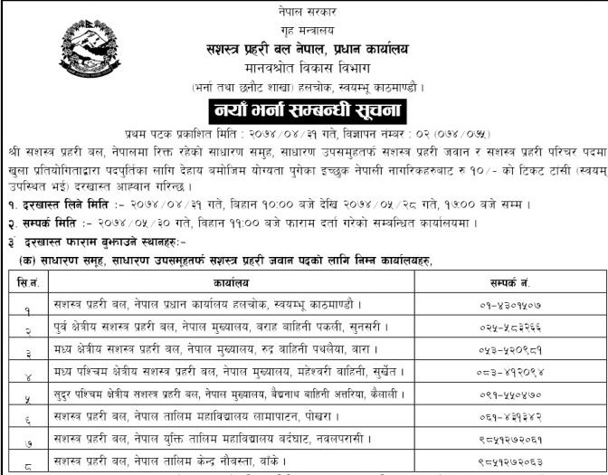 Job Vacancy In Armed Police Force