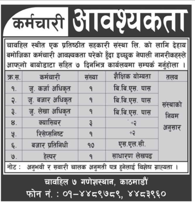 Banking Career in Cooperative for SLC pass, Jobs in Cooperative Chahabil