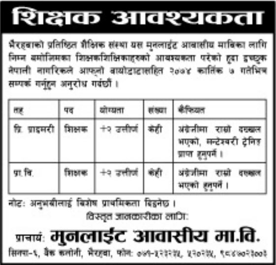 Job Vacancy in Bhairawa For 10+2 Graduates