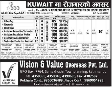 Job Demand From Kuwait, Job Vacancy In Al-Alfain