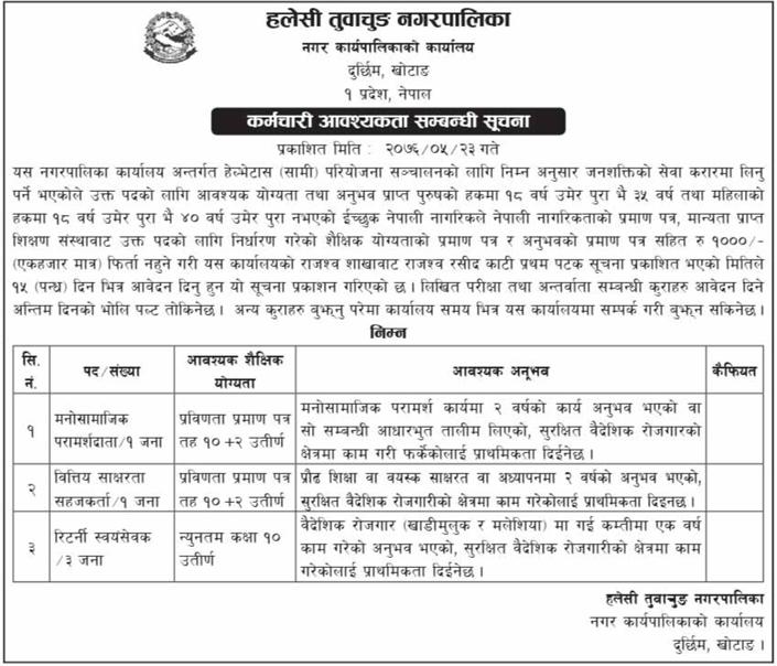 Job Vacancy In Halesi Tuwachun Nagarpalika,Job Vacancy For +